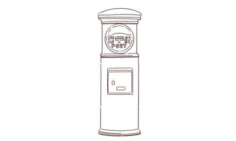 郵便ポストの線画イラスト