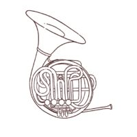 ホルン/楽器の線画イラスト
