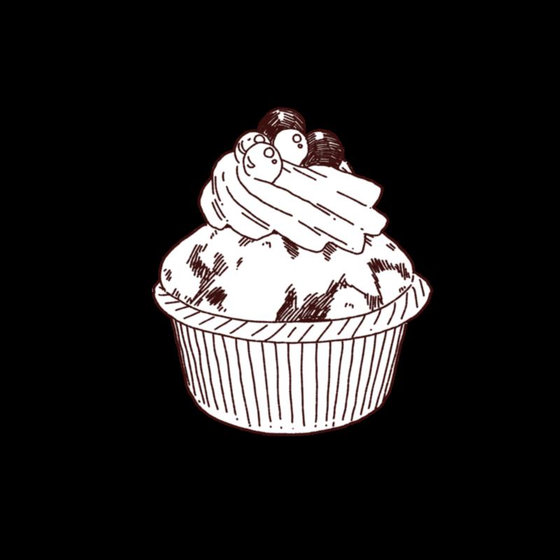 カップケーキ,フリーイラスト,フリー素材,線画イラスト