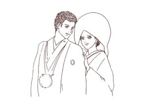 和装結婚式のカップル 線画イラスト