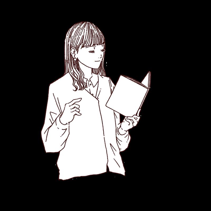 読書をしている女性の線画イラスト