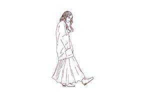 ゆるファッションな女性,フリーイラスト,線画イラスト,フリー素材