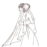 結婚式 洋装カップル 線画イラスト