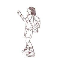 山ガール 登山好きな女性 線画イラスト