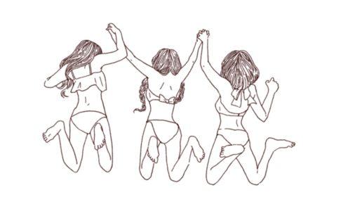 水着姿ではしゃぐ女性たち 線画イラスト