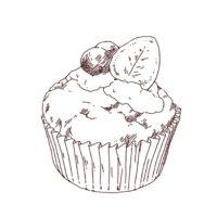 カップケーキの線画イラスト