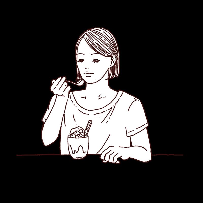 パフェを食べてる女性の線画イラスト