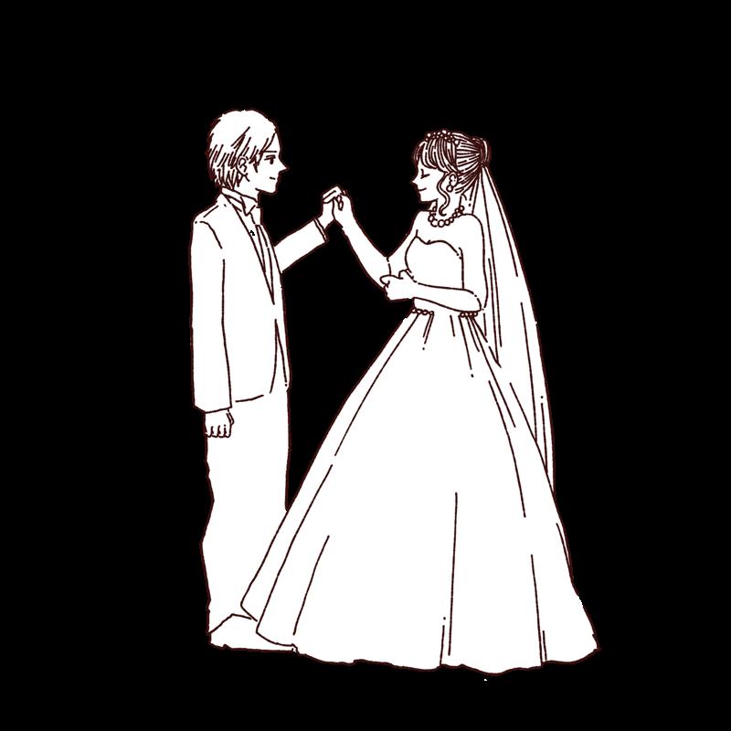結婚式 洋装カップル 線画 ウェディングイラスト