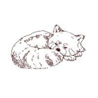 寝ているレッサーパンダ,フリーイラスト,フリー素材,線画イラスト