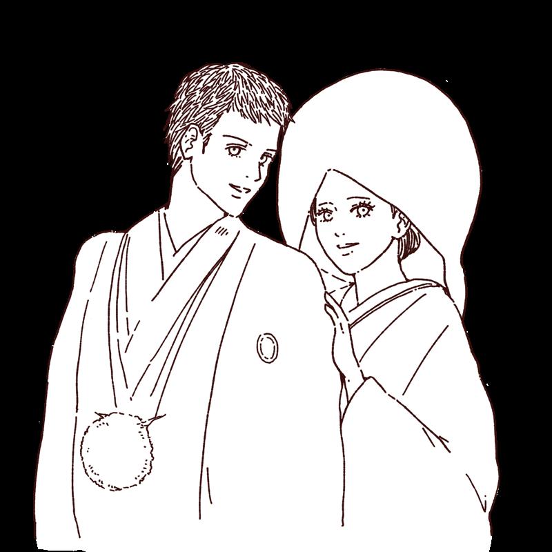 和装結婚のカップルの線画イラスト