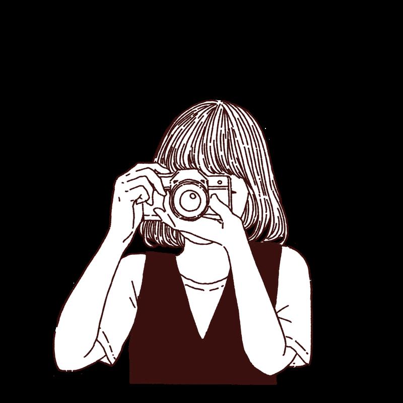 カメラ女子,フリーイラスト,フリー素材,線画イラスト