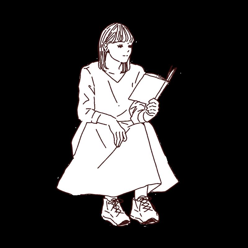 座って本を読む女性,フリーイラスト,線画イラスト,フリー素材