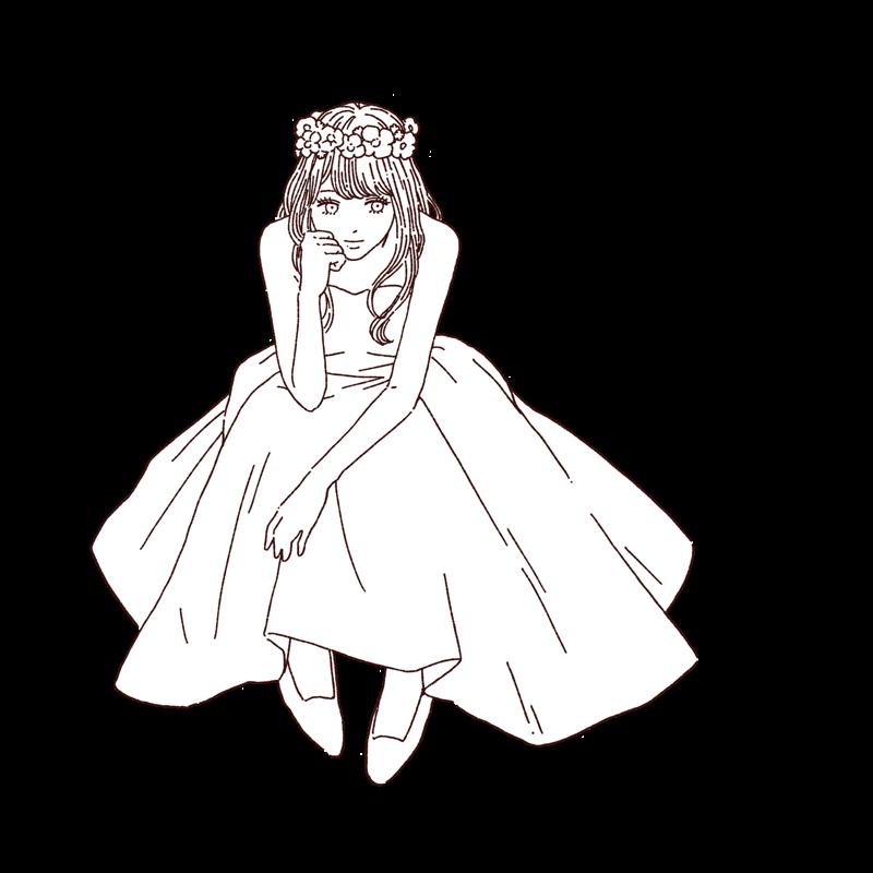 花嫁/ドレス姿の女性 線画イラスト