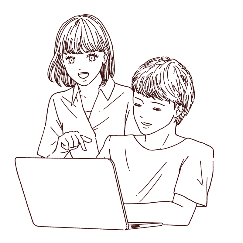 パソコンを見るカップル 線画イラスト