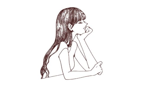 たそがれる女性の線画イラスト