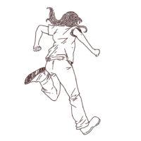 ジャンプする女性の線画イラスト