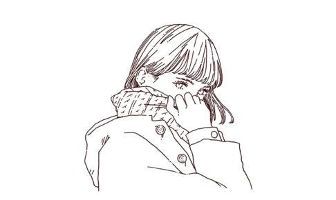 冬服 こちらを見つめる女性 線画イラスト