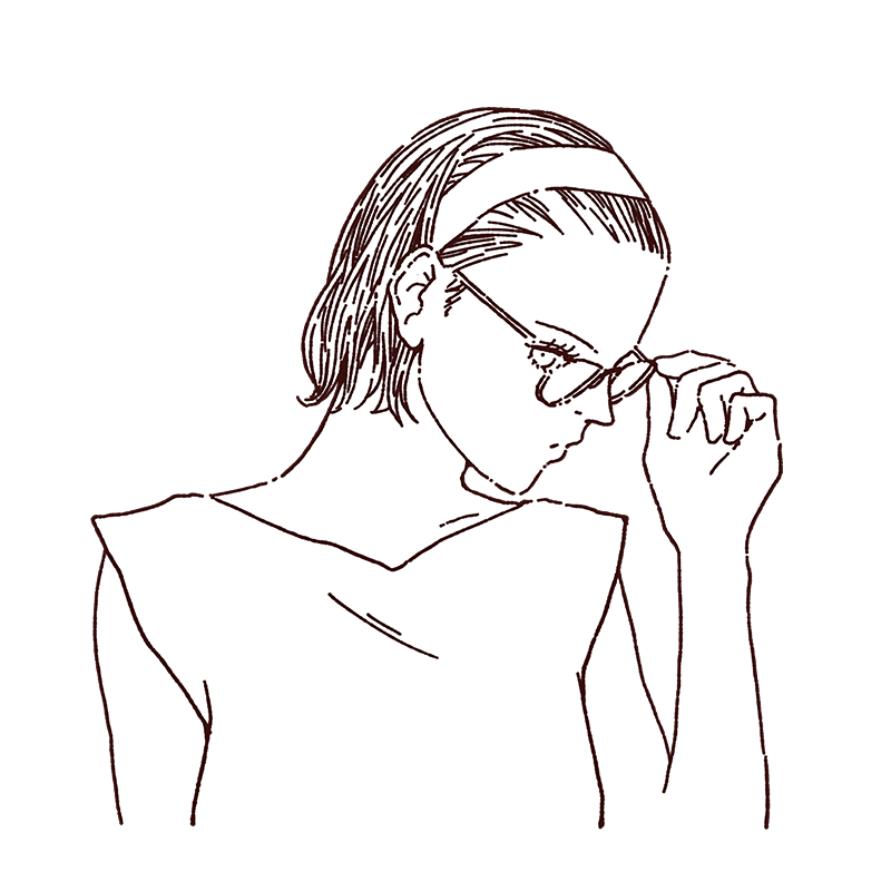 眼鏡をかけた女性のイラスト, 線画イラスト