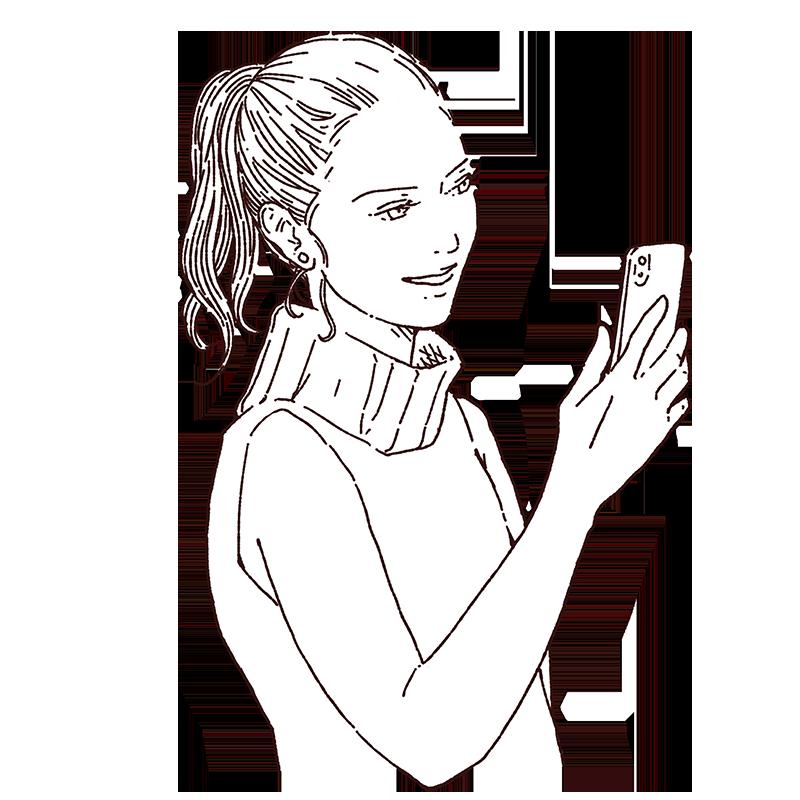 スマホ、携帯電話を持っている女性
