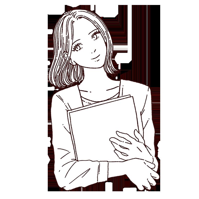 書類を持っている女性の線画イラスト