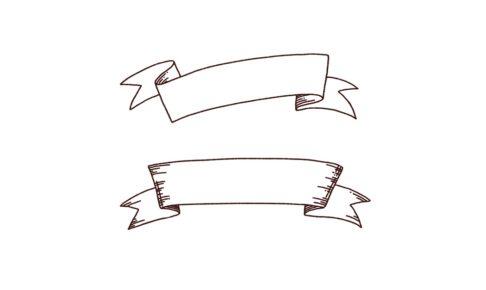 手書き装飾ラベル,フリーイラスト,フリー素材,線画イラスト