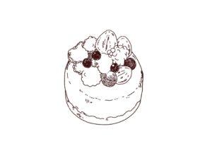 ホールケーキのイラスト,フリーイラスト,フリー素材,線画イラスト