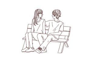 ベンチに座る仲良しカップルのイラスト,フリーイラスト,フリー素材,線画イラスト