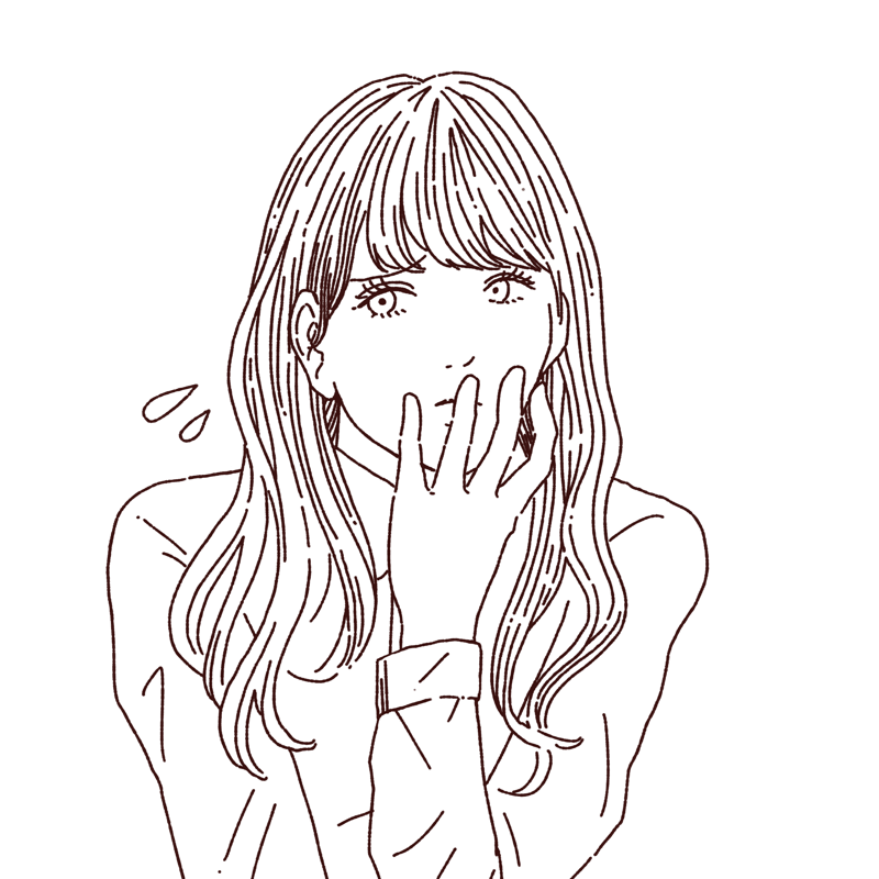 困った表情を浮かべる女性のイラスト,フリーイラスト,フリー素材,線画イラスト