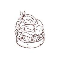 苺タルトケーキのイラスト,フリーイラスト,フリー素材,線画イラスト