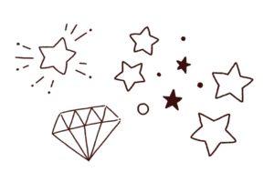 いろいろな手書き星の装飾,フリーイラスト,フリー素材,線画イラスト