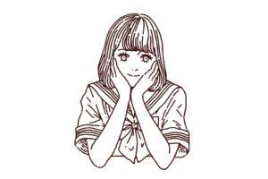 セーラー服の女子高生のイラスト,フリーイラスト,フリー素材,線画イラスト