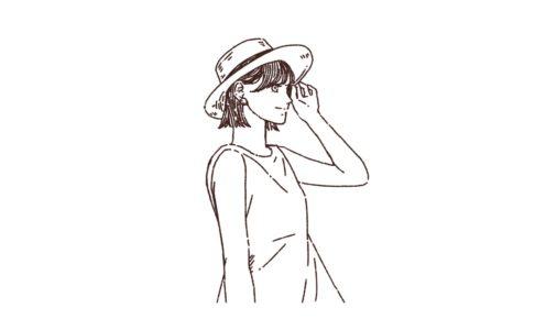 麦わら帽子の女性のイラスト,フリーイラスト,フリー素材,線画イラスト