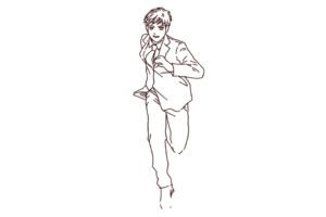 走っているビジネスマン(全身),フリーイラスト,フリー素材,線画イラスト,スーツ姿,仕事人