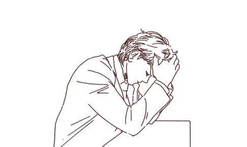 頭を抱えて悩むビジネスマン,フリーイラスト,フリー素材,線画イラスト,苦悩,男性のイラスト
