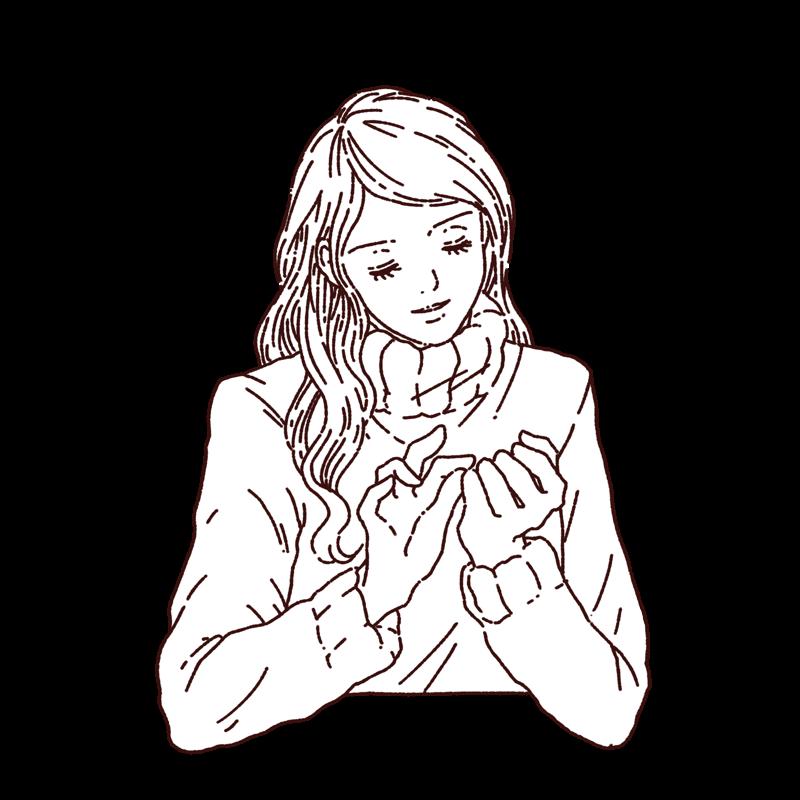 セーターを着た女性が爪をいじるイラスト,フリーイラスト,フリー素材,線画イラスト,感想,冬服の女性,イラスト