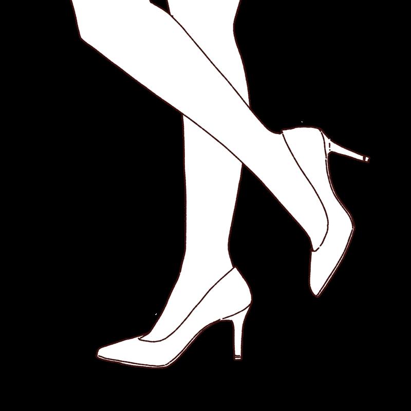 ハイヒールを履いた脚のイラスト,フリーイラスト,フリー素材,線画イラスト