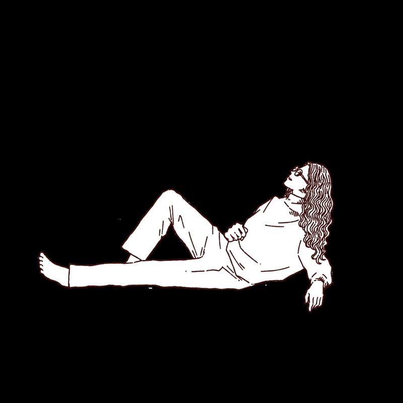 寝そべっている女性のイラスト,フリーイラスト,フリー素材,線画イラスト,パジャマ,リラックスしてる人