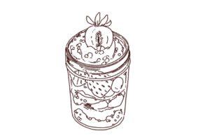 ジャーケーキのイラスト,フリーイラスト,フリー素材,線画イラスト,スイーツ,ケーキ、瓶に入ったケーキ,苺