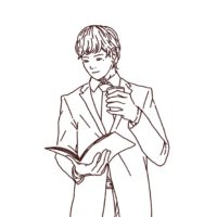 コーヒーを片手に読書するビジネスマン,フリーイラスト,フリー素材,線画イラスト,コーヒー,仕事人イラスト
